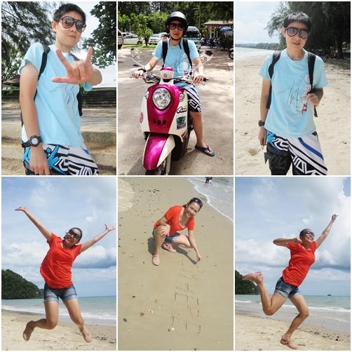 แว๊นมอไซค์ถ่ายรูปเล่นแถวหน้าหาดนพรัตน์ธารา